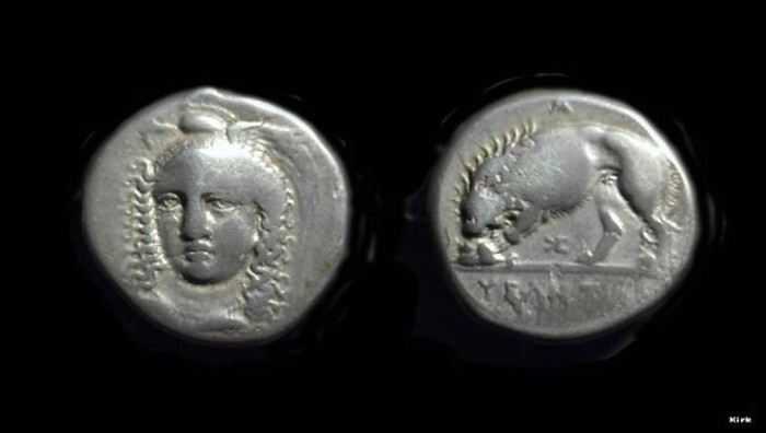 Ancient Coins - LUCANIA, Velia. AR Stater (7.41g) signed by Kleudoros, c. 334-300 BC.
