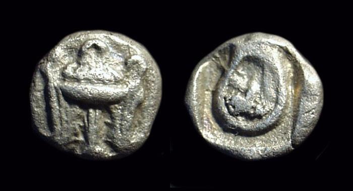 Ancient Coins - PHOKIS, Delphi. AR Obol (0.88g), c. 500-480 BC.  Ex: BCD