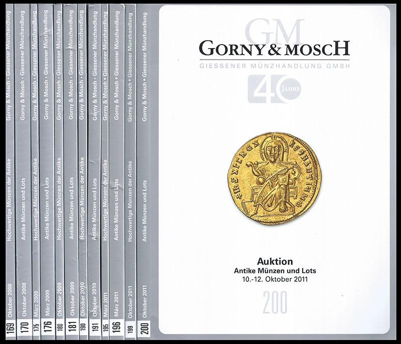 Ancient Coins - Gorny & Mosch: Lot of 12 Auction catalogs (2008-2011).