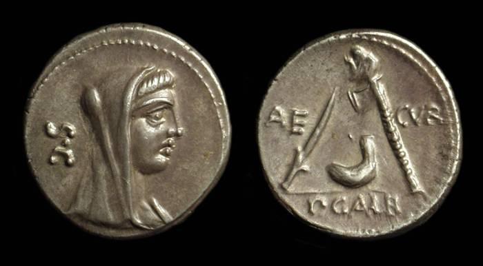 Ancient Coins - P. Galba, c. 69 BC. AR Denarius (3.65g).