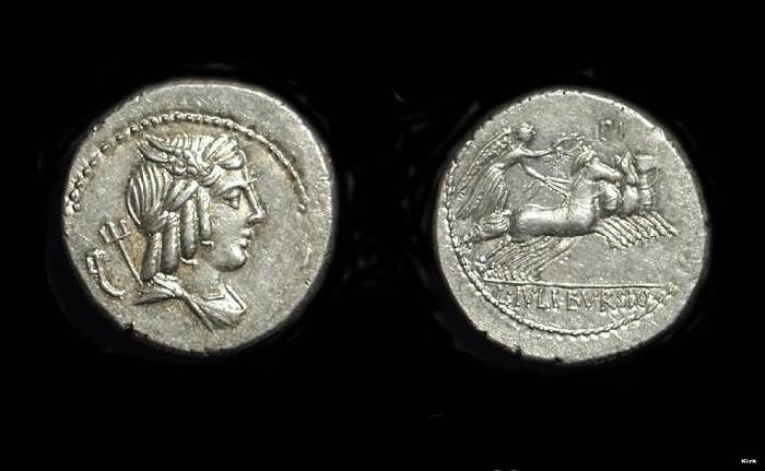 Ancient Coins - L Julis Bursio, c. 85 BC. AR Denarius (3.90g).