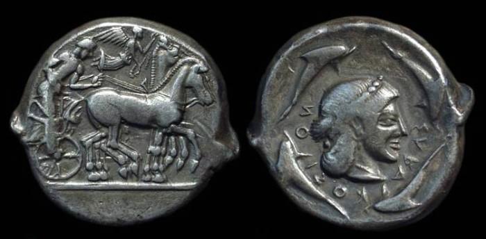 Ancient Coins - SICILY, Syracuse. AR Tetradrachm (17.24g), c. 475-460 BC.