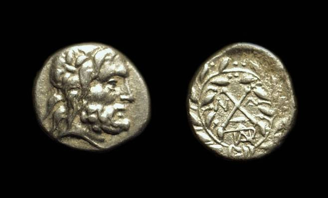 Ancient Coins - ARKADIA, Mantinea. AR Hemidrachm (2.32g), c. 188-180 BC.