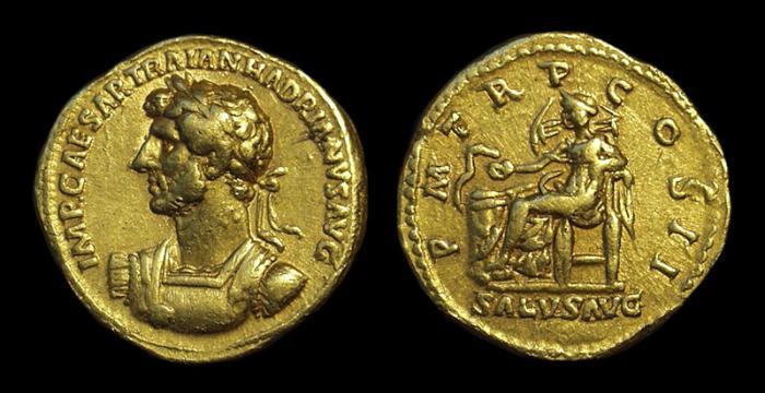Ancient Coins - HADRIAN, AD 117-138. AV Aureus (7.12g).