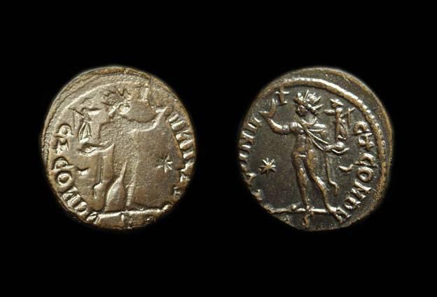 Ancient Coins - Time of Constantine, c. 316-323 BC. Billon Follis (3.21g). Full reverse brockage