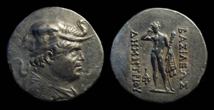 Ancient Coins - BAKTRIAN KINGDOM. Demetrios I, c. 200-185 BC. AR Tetradrachm (15.91g).