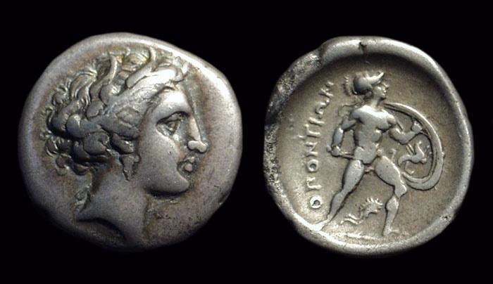 Ancient Coins - LOKRIS, Lokris Opuntia. AR Triobol (2.58g), c. 369-338 BC. BCD plate coin