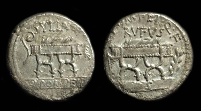 Ancient Coins - Q Pompeius Rufus, c. 54 BC. AR Denarius (3.70g).
