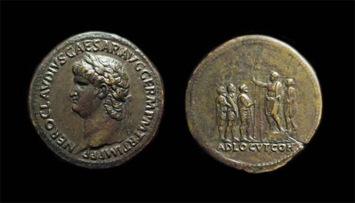 Ancient Coins - NERO, AD 54-68. Æ Sestertius (26.88g).