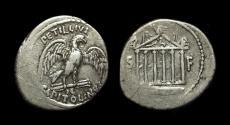 Ancient Coins - Petillius Capitolinus, c. 43 BC. AR Denarius (3.76g).
