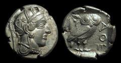 Ancient Coins - ATTICA, Athens. AR Tetradrachm (17.10g), c. 454-404 BC.  full bust