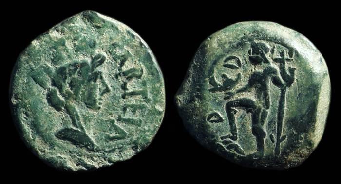 Ancient Coins - HISPANIA, Carteia. Æ 22mm (8.87g), c. 50-27 BC.