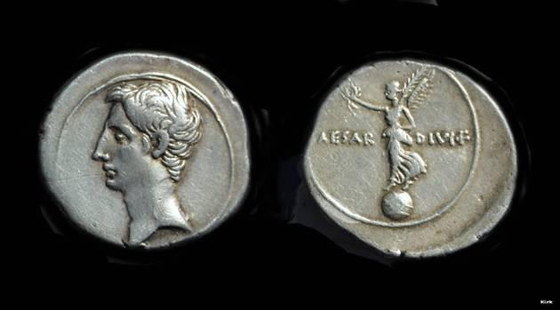 Ancient Coins - AUGUSTUS, 27 BC-AD 14. AR Denarius (3.70g) issued as Octavian, c. 31-30 BC.