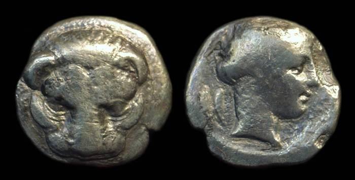 Ancient Coins - BRUTTIUM, Rhegion. AR Drachm (2.85g), c. 415-387 BC.