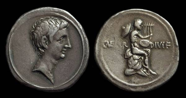 Ancient Coins - Octavian, c. 32-31 BC. AR Denarius (3.76g).