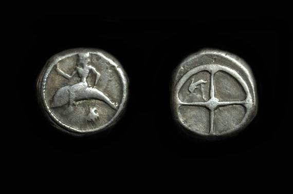 Ancient Coins - CALABRIA, Taras. AR Didrachm (7.85g), c. 480-470 BC.