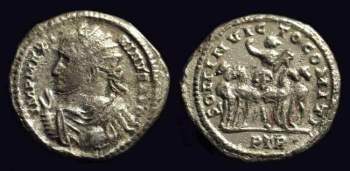 Ancient Coins - MAXIMINUS II: AD 309-313. Billon Argentus (2.44g).