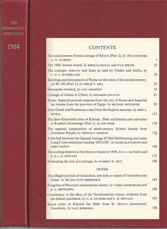Ancient Coins - Numismatic Chronicle 1984: Warren, Johnston, Levante, et. al.