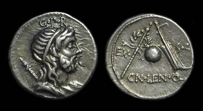 Ancient Coins - Cn Cornelius Lentulus, c. 76-75 BC. AR Denarus 3.91g).