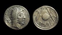 Ancient Coins - CELTIC, The Eravisci. AR Denarius (3.34g) imitating Roman Republic, 1st Century BC.
