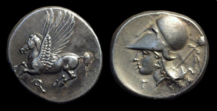 Ancient Coins - CORINTHIA, Corinth. AR Stater (8.55g), c. 386-307 BC.