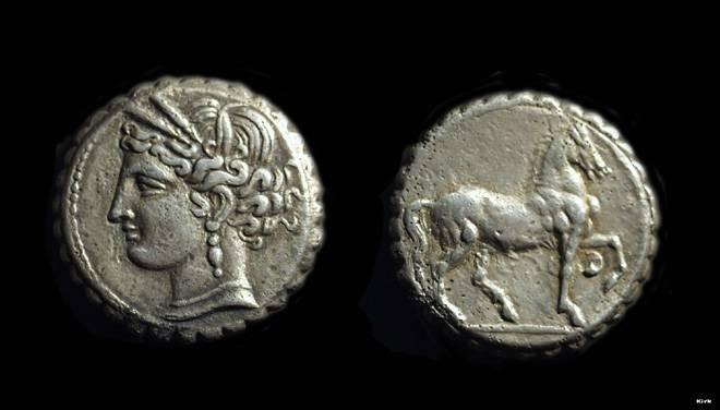 Ancient Coins - ZEUGITANA, Carthage. AR Double-Shekel (13.15g), c. 200-146 BC.
