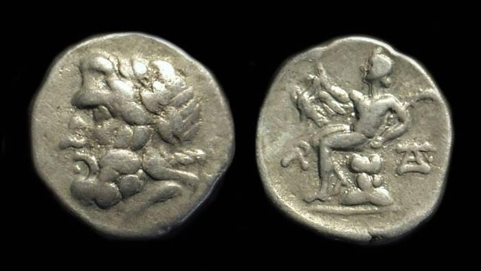 Ancient Coins - ARKADIA, Megalopolis. AR Triobol (2.28g), c. 195-188 BC