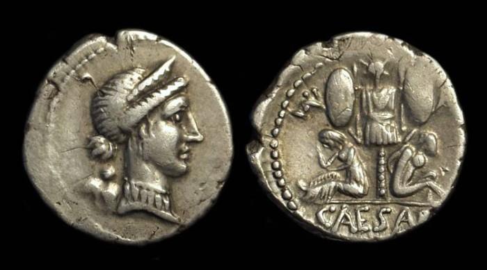 Ancient Coins - Julius Caesar, died 44 BC. AR Denarius (4.01g).