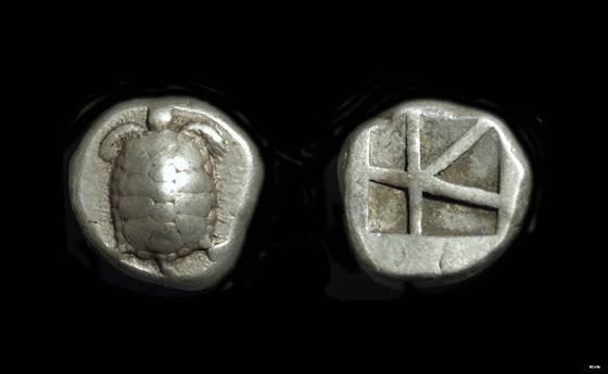 Ancient Coins - ATTICA, Islands off.  Aigina. AR Stater (12.28g), c. 445-431 BC.