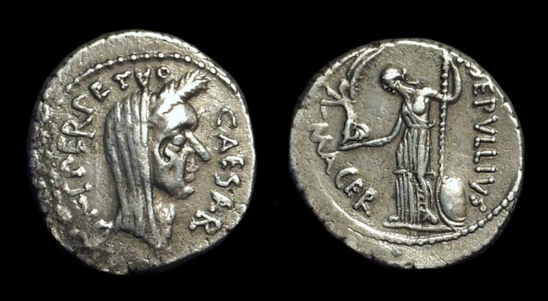 Ancient Coins - Julius Caesar, assassinated 44 BC. AR Denarius (3.97g) issued as Perpetual Dictator, 44 BC.