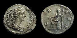 Ancient Coins - Faustina Junior, Wife of Marcus Aurelius. AR Denarius (3.62g). Ex: Manhattan Sale I