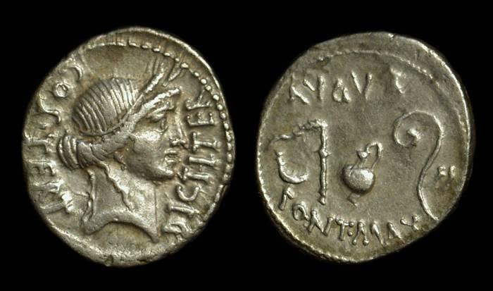 Ancient Coins - Julius Caesar, c. 46 BC.  AR Denarius (3.88g).