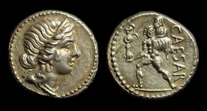 Ancient Coins - Julius Caesar, c. 47-46 BC. AR Denarius (3.89g).