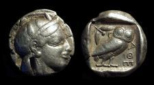 Ancient Coins - ATTICA, Athens. AR Tetradrachm (17.12g), c. 465-454 BC.  Starr V variety