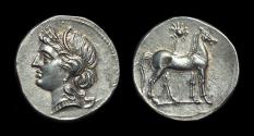Ancient Coins - BRUTTIUM, Carthaginians in Italy. AR Half-Shekel (3.81g) issued under Hannibal, c. 218-205 BC.