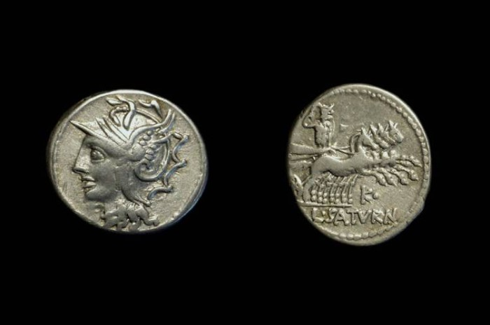 Ancient Coins - L Saturninus. AR Denarius (3.93g), c. 104 BC.