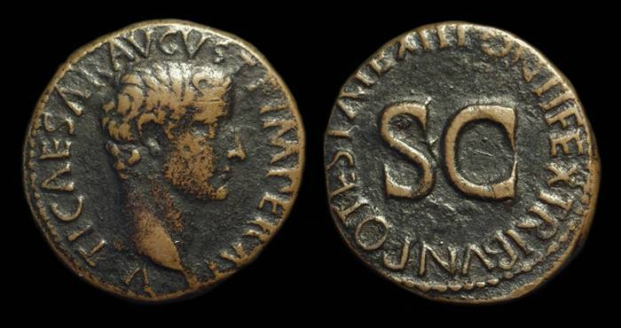 Ancient Coins - TIBERIUS, AD 14-38. Æ As (10.54g).