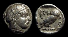Ancient Coins - ATTICA, Athens. AR Tetradrachm (17.07g), c. 454-404 BC. transitional style