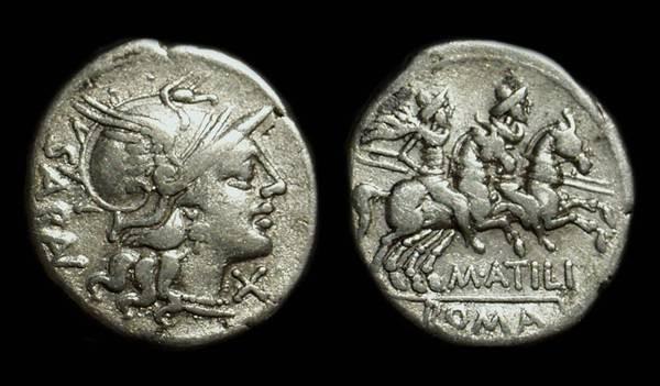 Ancient Coins - M Atilius Saranus, c. 148 BC. AR Denarius (3.56g).