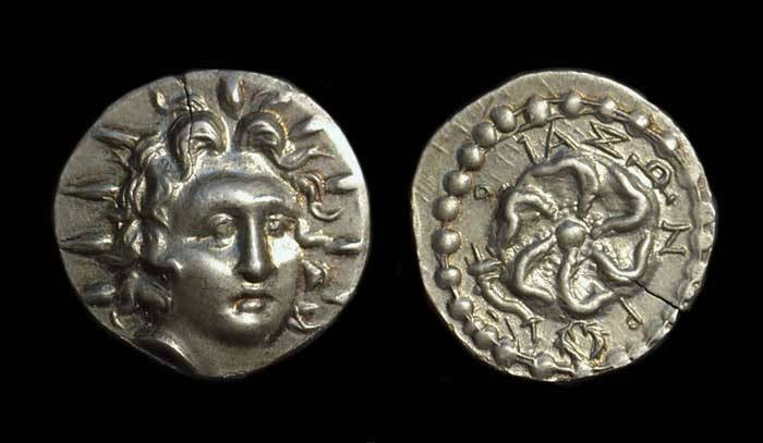 Ancient Coins - KARIA, Islands off. Rhodos. AR Didrachm (4.14g), c. 88-25 BC.