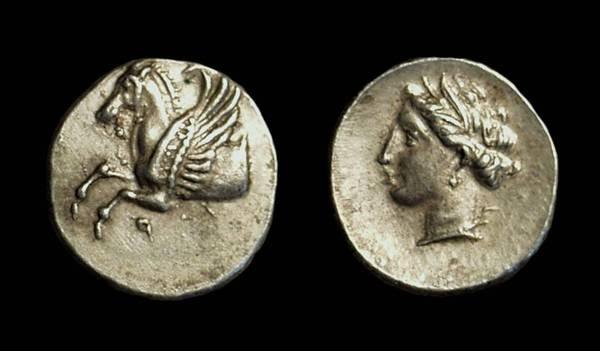 Ancient Coins - CORINTHIA, Corinth. AR Hemidrachm (1.17g), c. 350-300 BC.