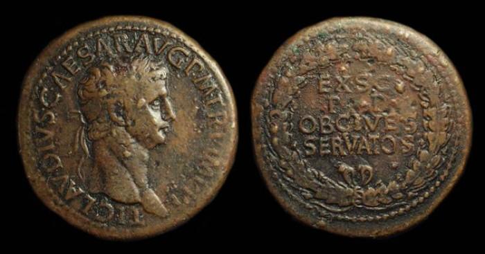 Ancient Coins - CLAUDIUS, AD 41-54. Æ Sestertius (28.54g).