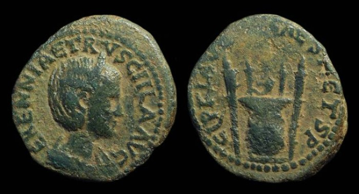 Ancient Coins - Herennia Etruscilla. Æ 28mm (16.69g) of Caesarea Maritima, Samaria. Ex: Shoshana