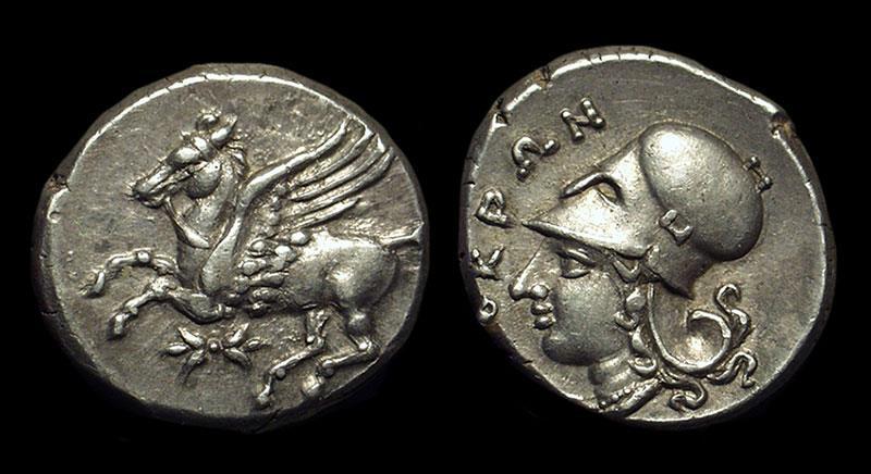 Ancient Coins - BRUTTIUM, Lokroi Epizephyrioi. AR Stater (8.76g), c. 350-275 BC.
