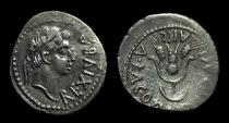 Ancient Coins - MAURITANIA, Juba II, 25 BC-AD 23. AR Denarius (2.49g) w/ Cleopatra Selene