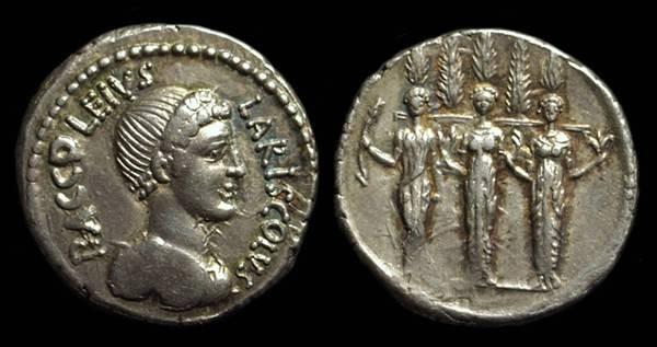 Ancient Coins - P Accoleius Lariscolus, c. 43 BC. AR Denarius (3.93g).