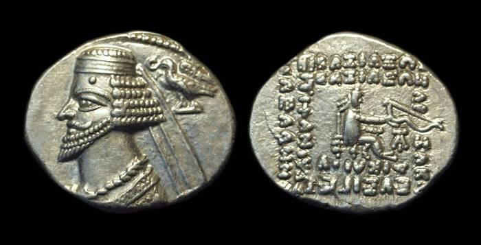 Ancient Coins - PARTHIA. Phraates IV, c. 39-2 BC. AR Drachm (3.95g).