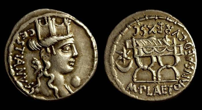 Ancient Coins - M Plaetorius Mf Cestianus, c. 67 BC. AR Denarius (3.97g).