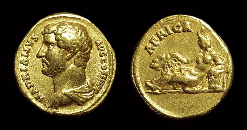 Ancient Coins - Hadrian, AD 117-138. Gold Aureus (7.12g). Travel Series: Africa.