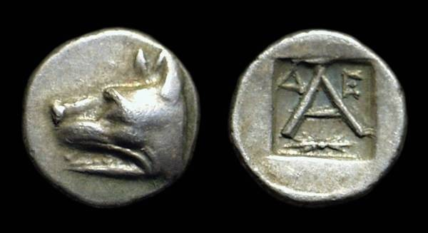 Ancient Coins - ARGOLIS, Argos. AR Obol (0.76g), c. 270-250 BC.